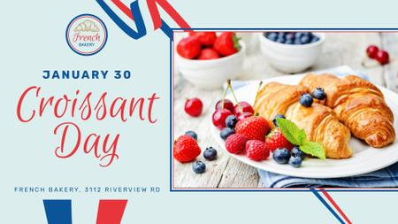 Plantilla de diseño de Croissant Day Offer Fresh Baked pastry FB event cover