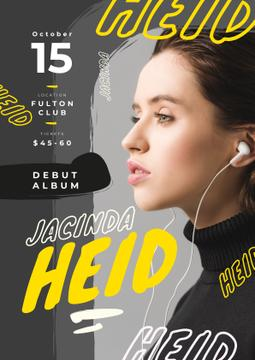 Concert Invitation Woman Listening Music in Headphones | Flyer Template