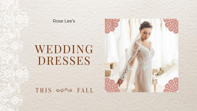 Wedding Dresses Store Ad Bride in White Dress Full HD video Design Template