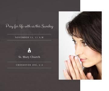Church invitation with Woman Praying