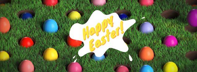 Plantilla de diseño de Colored Easter eggs in lawn Facebook Video cover