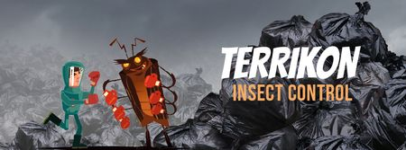 Ontwerpsjabloon van Facebook Video cover van Exterminator fighting with cockroach
