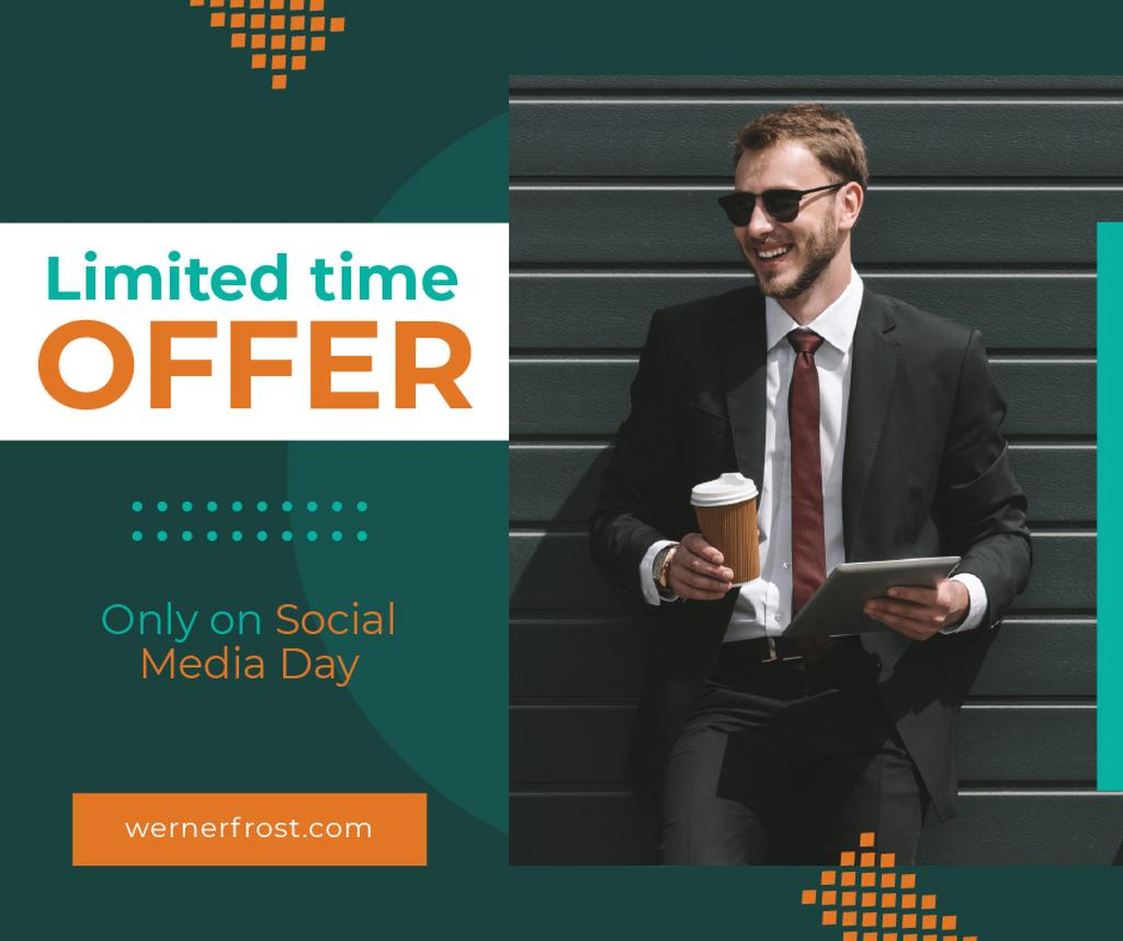 Social Media Day Offer Businessman with Tablet and Coffee — Create a Design