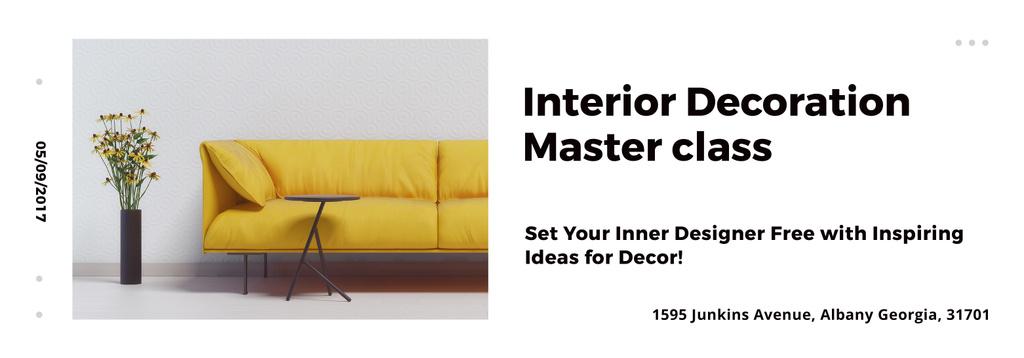Interior Decoration Event Announcement Sofa in Yellow - Bir Tasarım Oluşturun