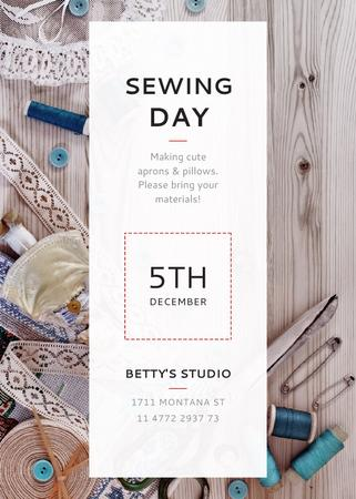 Sewing day event with needlework tools Invitation Modelo de Design