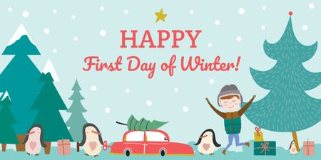 Happy first day of Winter illustration Image Tasarım Şablonu