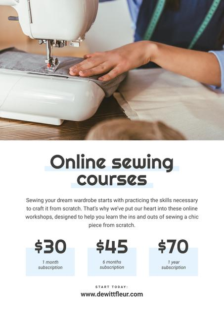 Online Sewing courses Annoucement Poster Design Template