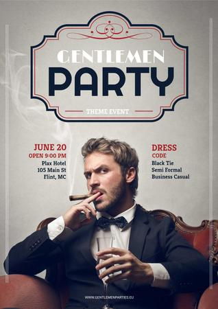Plantilla de diseño de Gentlemen party invitation Poster