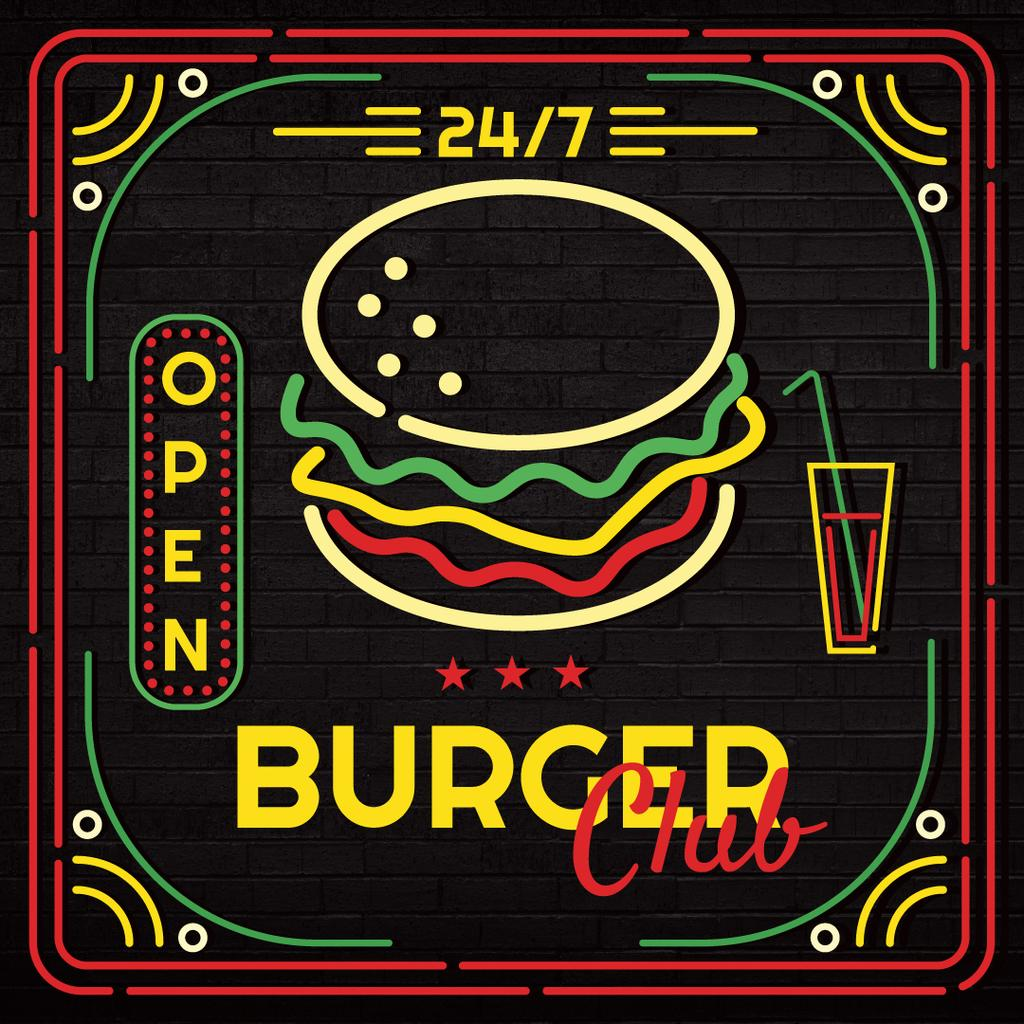 Burger club glowing icon — Создать дизайн