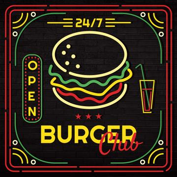Burger club glowing icon