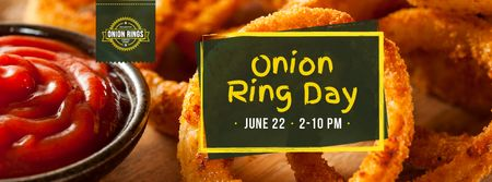 Fried onion rings Day Facebook cover Design Template