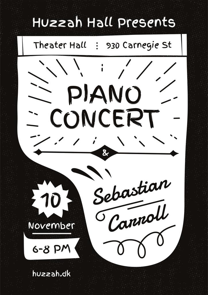 Concert Announcement with Grand Piano Silhouette — Crea un design