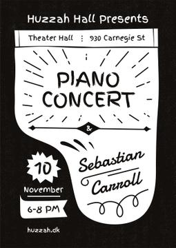 Concert Announcement Grand Piano Silhouette