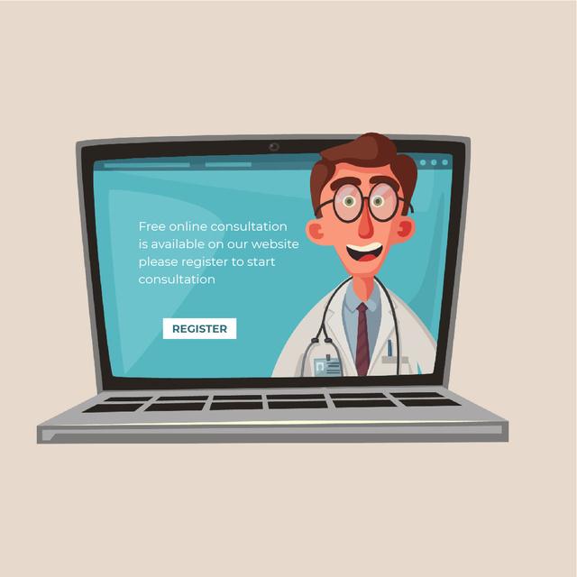 Doctor speaking on laptop screen Animated Post Tasarım Şablonu