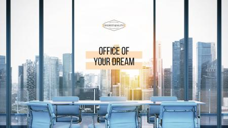 Office of dream Ad with City View Presentation Wideデザインテンプレート