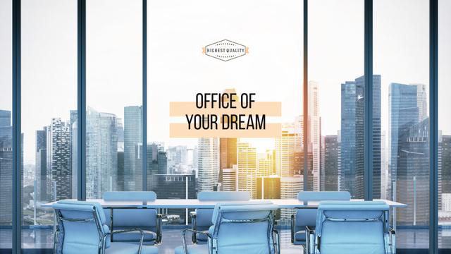 Plantilla de diseño de Office of dream Ad with City View Presentation Wide