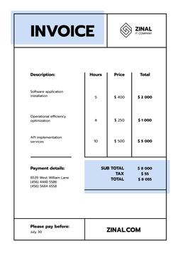 IT Company Services Invoice