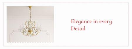 Elegant crystal Chandelier in room Facebook cover Design Template