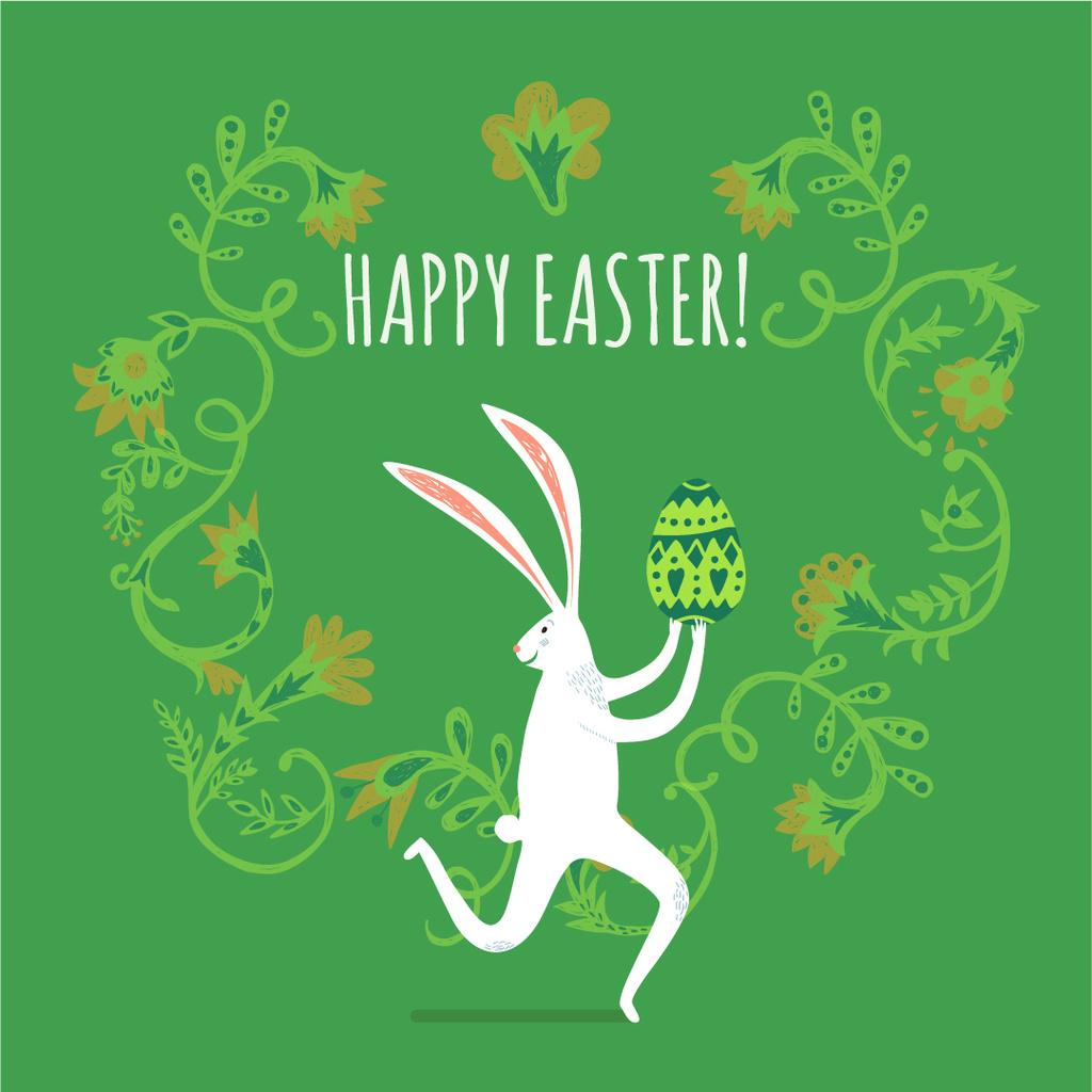 Ontwerpsjabloon van Instagram AD van Easter Bunny Running With Colored Egg