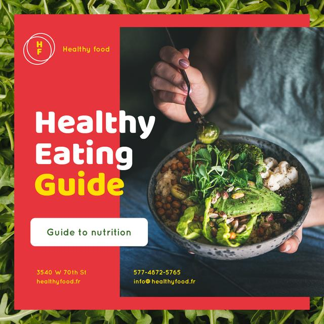Healthy Food Concept with Woman holding Bowl Instagram Modelo de Design