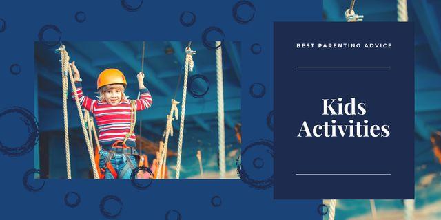 Modèle de visuel Kid having fun in rope park - Image