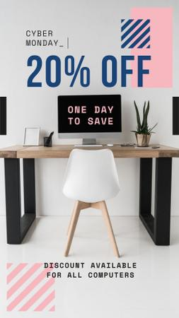 Cyber Monday Offer Computer on Working Table Instagram Story Modelo de Design