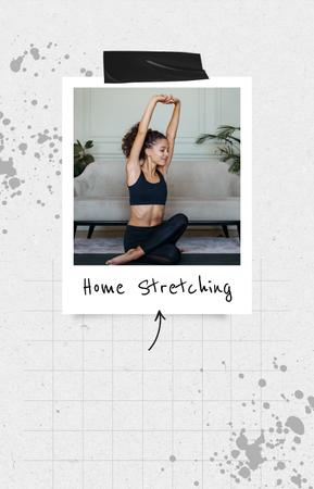 Plantilla de diseño de Woman stretching at Home IGTV Cover