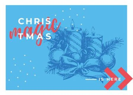 Plantilla de diseño de Traditional Christmas Decorations in Blue Postcard