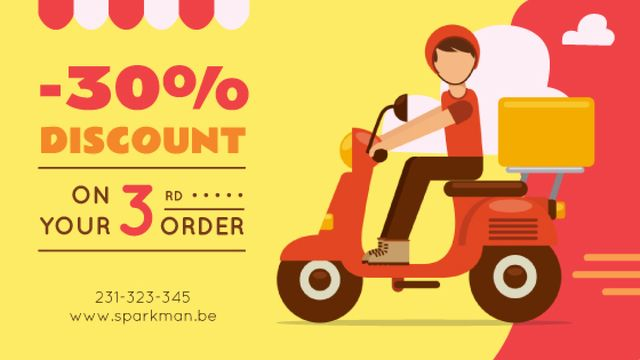 Plantilla de diseño de Man on Scooter Delivering Parcel in Red Title
