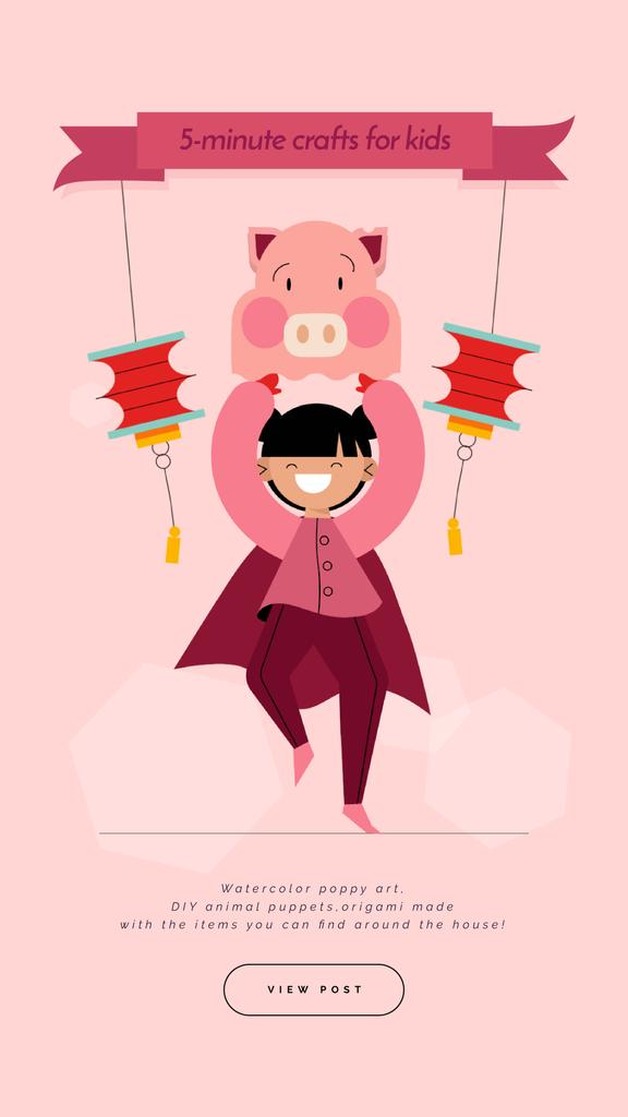 Crafts for Kids Guide Girl in Pig Costume — Modelo de projeto