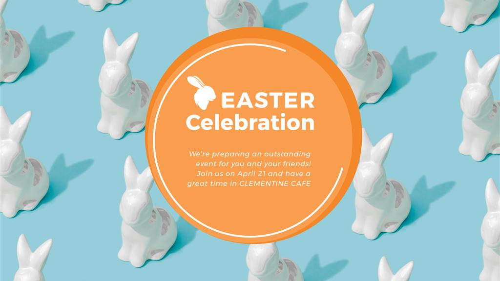 Easter Greeting Bunny Figures in blue — Modelo de projeto