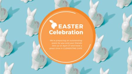 Plantilla de diseño de Easter Greeting Bunny Figures in blue Full HD video