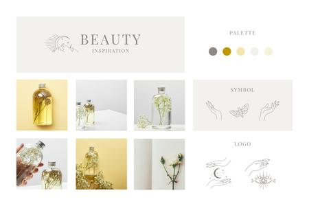 Bottles with natural Oil and Flowers Mood Board Modelo de Design
