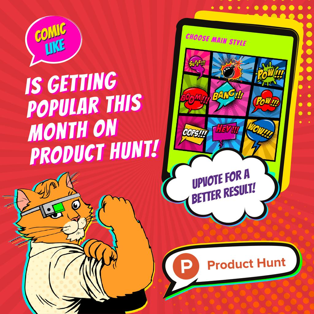 Product Hunt Campaign App with Interface on Screen — Crea un design