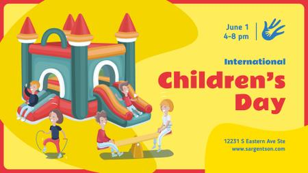 Children's Day Celebration Happy Kids on a Playground FB event cover Tasarım Şablonu