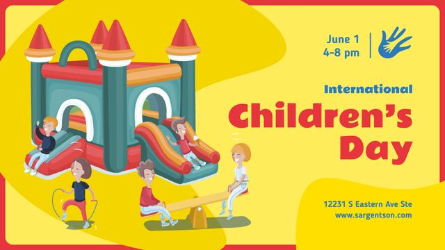 Template di design Children's Day Celebration Happy Kids on a Playground FB event cover