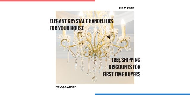 Elegant crystal chandeliers shop Image – шаблон для дизайну