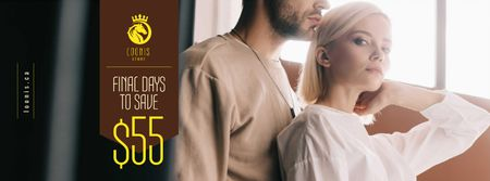 Ontwerpsjabloon van Facebook cover van Fashion Sale with Tender Attractive Couple