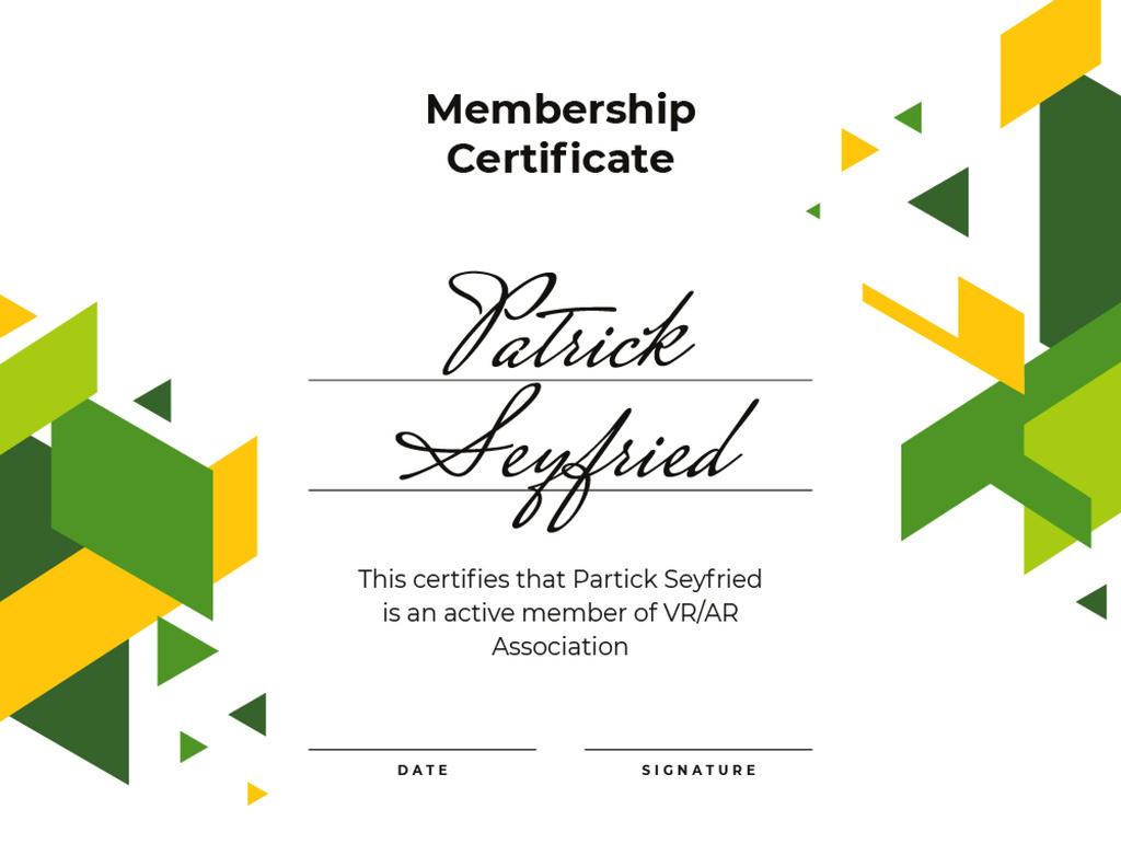 VR association Membership confirmation — Crea un design