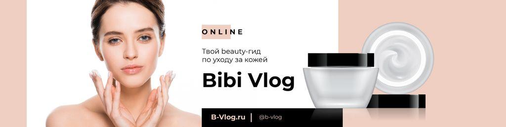 Beauty Blog promotion with Woman applying Cream — Modelo de projeto