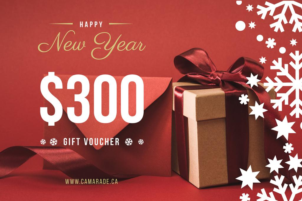 New Year Gift Box in Red — Créer un visuel