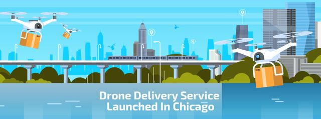 Drone Delivery Service Launched In Chicago Facebook Video cover – шаблон для дизайну