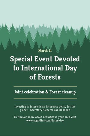 Plantilla de diseño de International Day of Forests Event Announcement in Green Tumblr