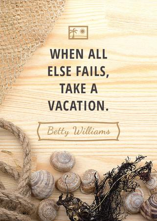 Travel inspiration with Shells on wooden background Invitation Tasarım Şablonu