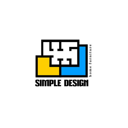 Design Studio with Geometric Lines Icon Logo Tasarım Şablonu