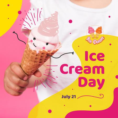Plantilla de diseño de Kid holding ice cream on Ice Cream Day Instagram