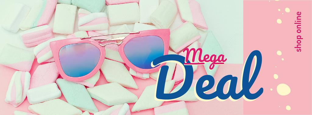 Shop Offer with pink Sunglasses and Marshmallows — Crear un diseño