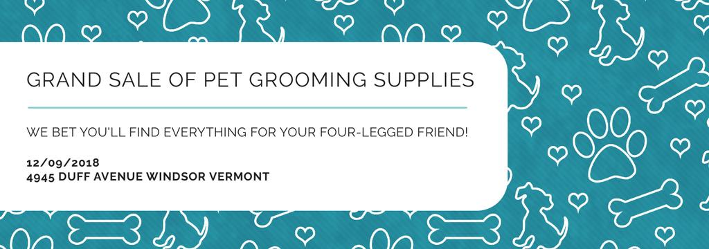 Pet Grooming Supplies Sale with animals icons — Создать дизайн
