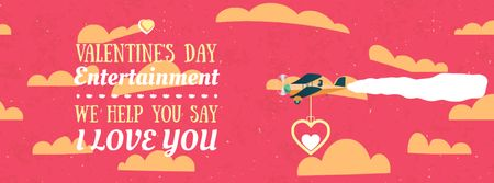 Valentine's Day Card with Plane carrying Heart Facebook Video cover Modelo de Design