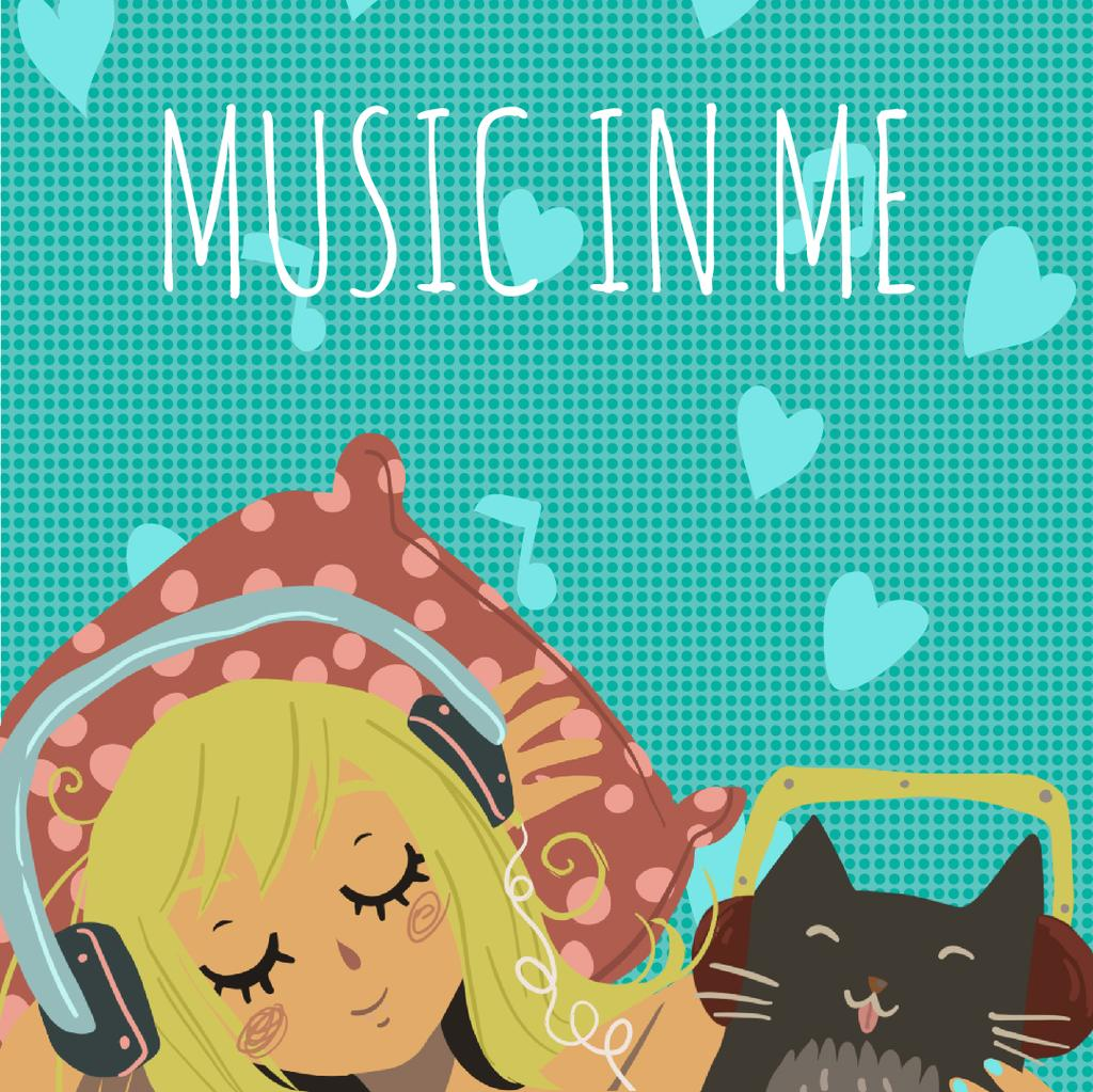 Girl and cat in headphones — Modelo de projeto